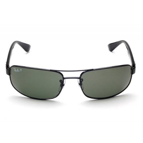 New Ray Ban RB3445 002/58 Black/Crystal Green Lens 61mm Polarized - Polarized Rb3445