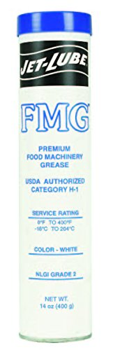 Jet-Lube 30150 FMG Food Machinery Grease, 0 to 400 degrees F, 2 NLGI Number, 14 oz Cartridge, - Grease Food