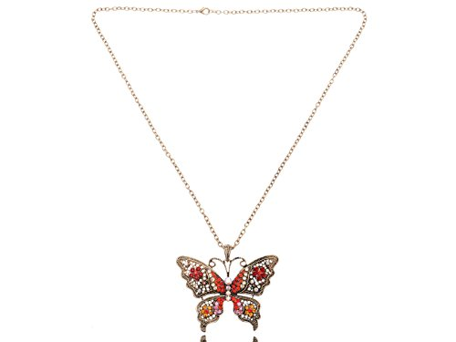 Alilang Womens Antique Golden Tone Red Orange Rhinestones Filigree Butterfly Pendant Necklace