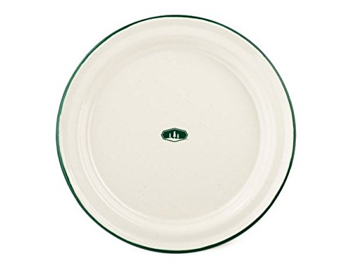 GSI Outdoors 8326 Deluxe Enamelware Green Rimmed Dinner Plate 10.25