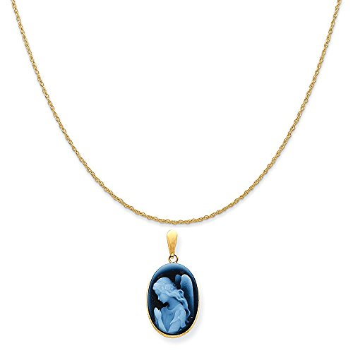 Mireval 14k Yellow Gold 13X18mm Guardian Angel Cameo Pendant on 14K Yellow Gold Rope Chain Necklace, 16