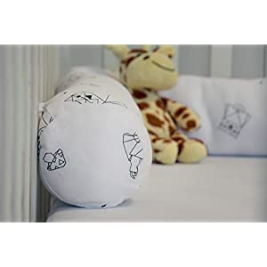 Kookoolon Organic Cotton Padded Liner for Crib and Bed – 79″ Snake Pillow with Unique Origami Animals Design for Boys and Girls – for Undisturbed Sleep. Machine Washable, White