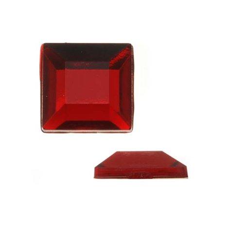 Beadaholique Vintage Lucite Plastic Flatbacks Faceted Square Ruby Red 12mm (12)