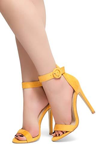 Yellow Gold High Heel Shoe - Herstyle Charming Open Toe Stiletto Heel. Mustard 10.0
