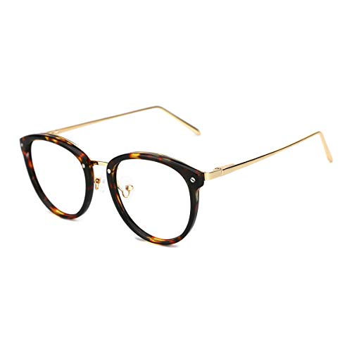 TIJN Vintage Round Metal Optical Eyewear Non-prescription Eyeglasses Frame for Women (Frame Glass Replacement)