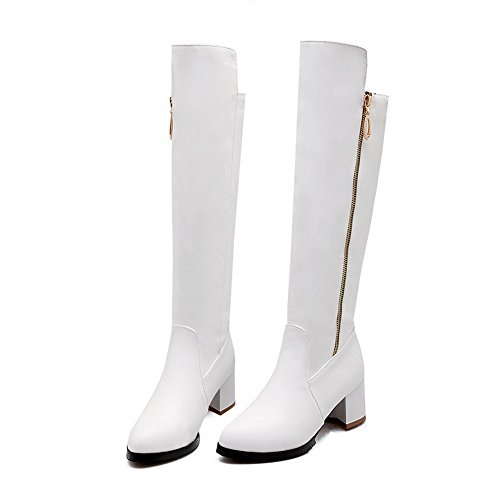 AdeeSu Ladies Chunky Heels Zipper Kitten-Heels Imitated Leather Boots White i4TXvuG4Np