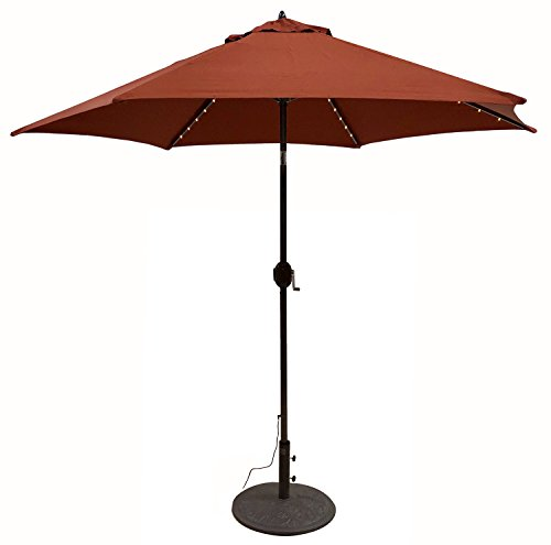 Tropishade Tropilight LED Lighted 9 ft Bronze Aluminum Market Umbrella with Rust Polyester Cover