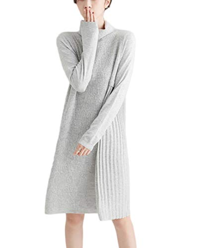 MedeShe Womens Sweater Dress Winter Dress Cashmere Wool Pullover Sweaters Long Sleeve (US 6/8, Classic Grey)