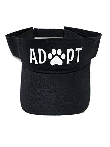 (White Glitter Adopt/Paw Print Black Sun Visor Animal Dog Cat)