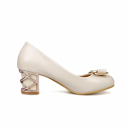 Show Shine Women's Sweet Leather Block Heel Bows Upper Court Shoes Off-White rKoDT