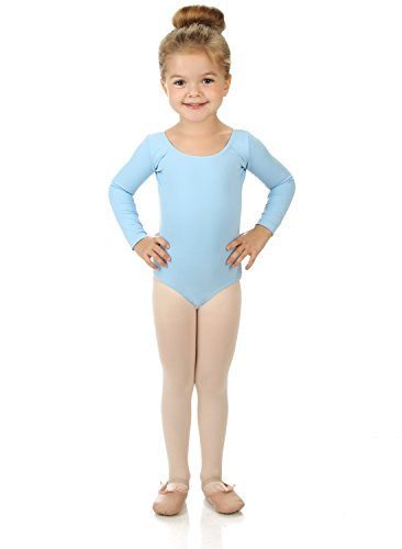 Elowel Girls' Team Basics Long Sleeve Leotard Light Blue (size 2-4)