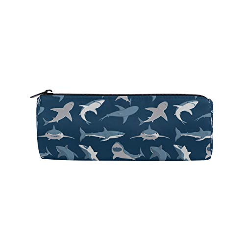Pencil Case Pen Pounch Bag Ocean Navy Blue Shark with Zipper Writing School Office Supply Round Medium Capacity