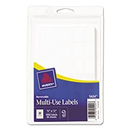 Avery Self-Adhesive Removable Multi-Use Labels, 5/8 x 7/8, White, 1050/Pack, PK