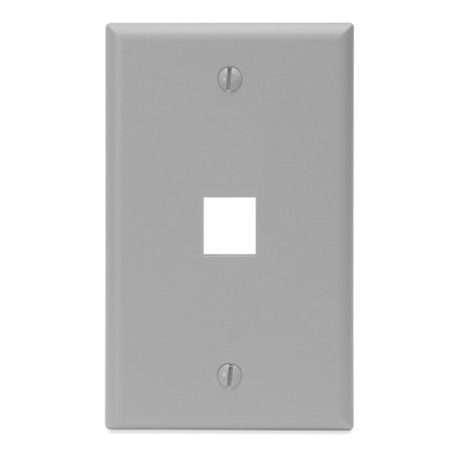 Leviton 41080-1GP QuickPort Wallplate, Single Gang, 1-Port, Grey (Plate Mount Wall Quickport Flush)