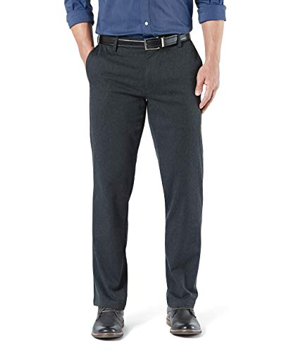 Dockers Men's Straight Fit Signature Khaki Lux Cotton Stretch Pants, Charcoal Heather, 36 34