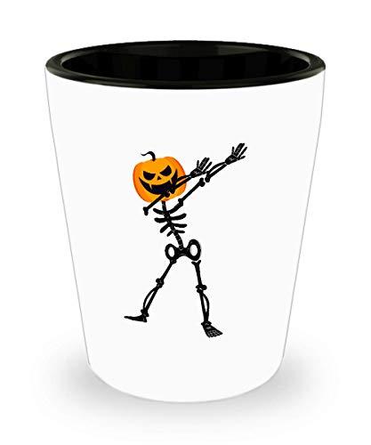 Shot Glass Dabbing Dab Skeleton Pumpkin Halloween Funny Gift Cute Glass shot ()