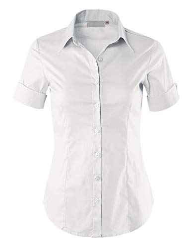 MAYSIX APPAREL Plus Size Womens Short Sleeve Stretchy Button Down Collar Office Formal Shirt Blouse White 3XL (Polo Button Down For Women)