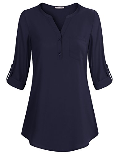 Tunic Blouse,Messic Women's V-Neck Blouses 3/4 Roll-Up Sleeve Button Casual Chiffon Tunic Shirt (XX-Large, - Shirt Tunic Jacket