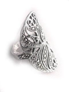 Sterling Silver Large Wide Floral Marcasite Ring Sizes 6,7,8,9