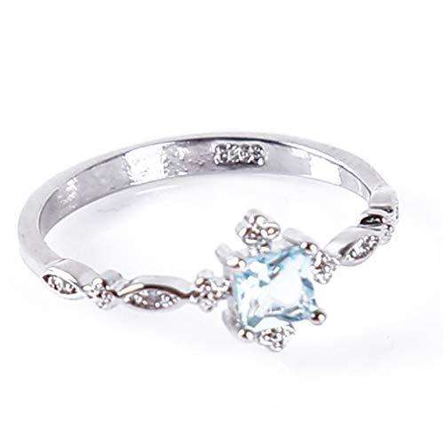 - Iumer Women Alloy Rhinestone Topaz Square Zircon Wedding Band Valentine's Day Jewelry Gift,10