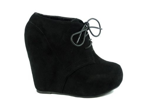 Lace up Platform Wedge Bootie (8 black)