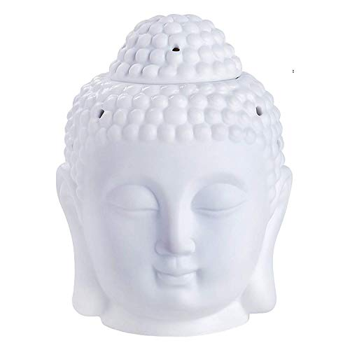Buddha Head Ceramic Statue (UOON Buddha Head Essential Oil Diffuser Burner/Tealight Candle Holder For Spa Yoga Meditation (White Ceramic Statue))