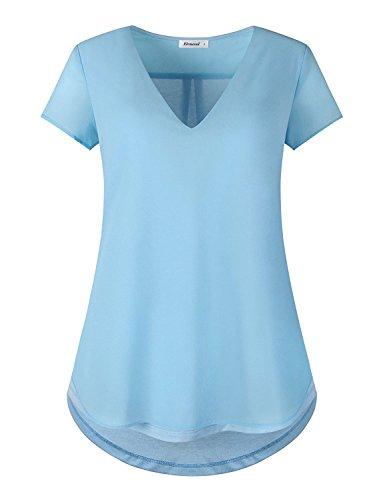 Elemevol V Neck T Shirts Women,Ladies Semi Sheer Chiffon Patchwork Short Sleeve Office Work Blouse Tops Blue L - Ladies Semi Sheer T-shirt