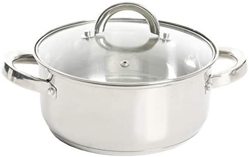 31AQbwx1 RL. AC Oster Sangerfield Stainless Steel Cookware, 3.0-Quart Casserole Set w/Steamer Basket    3 qtr. Stainless Steel steamer for use on your stove top. Perfect for steaming vegetables and cooking rice at the same time as well as re-steaming tamales as leftovers. Smaller size than traditional stockpot steamers for smaller gatherings and space-saving. Dual purpose as Dutch oven with glass lid. 3QT Casserole 8.5' in diameter x 3.7' Height = Piece by itself, 3QT Steamer 8.5' in diameter x 3.6' Height = Piece by itself, With Glass lid 8.5' in diameter (you can use for both the pot and the steamer), Stackable measurements = 8.5' in diameter x 6.20' Height = Stackable Casserole and Steamer.