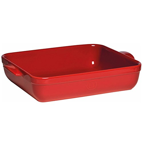 Emile Henry Made In France Lasagna/Roasting Dish 16.75 inch x 11 inchx 3 inch Burgundy Red