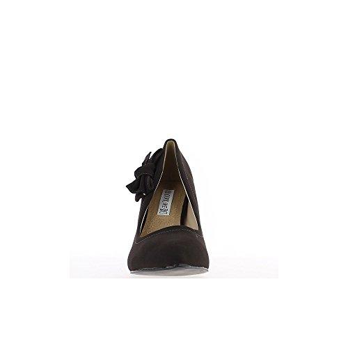 Escarpins pointus grande taille marrons à talon de 10cm et noeud décoratif