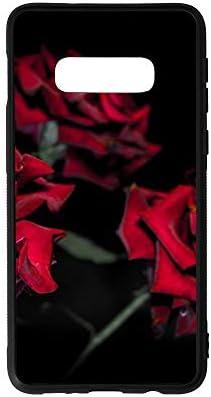 赤花 サムスンS10Eケース 背面ガラス TPUバンパー四隅滑り止め 全面保護 黄変防止 薄型 軽量 耐衝撃性シリコンケー黄変防止 対応 サムスンgalaxy S10E 専用カバー