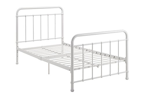 dhp brooklyn metal iron bed w headboard and footboard adjustable height 7 or 11 clearance for storage sturdy slats included no box spring required - White Metal Bed Frame
