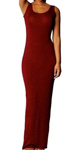 Jaycargogo Womens Col Ras Du Cou Décontracté Couleur Unie Sexy Maxi Élégante Robe D'été Rouge Vin