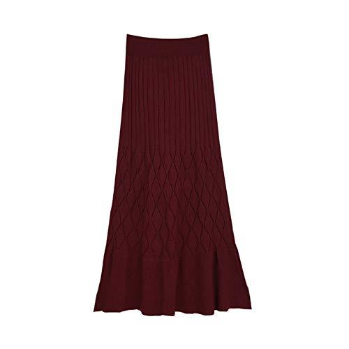 Chambre Haut en Un Taille Hip Bordeaux De Mi La Jupe Jupe Moyen Tail Automne Longueur Hiver xnnq7SX8f