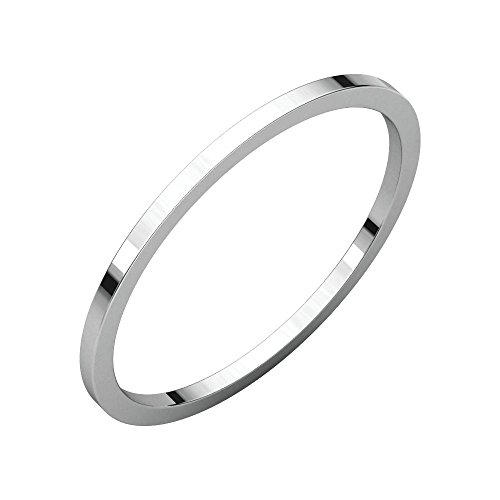 (Jewels By Lux 14K White Gold 1mm Flat Wedding Ring Band Size 5)