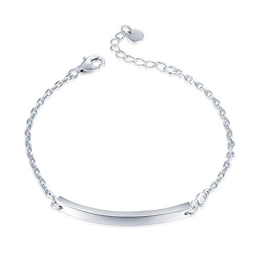 Custom Diamond Bezel (MaBelle 925 Sterling Silver Diamond Round Engravable Plate Identification Anchor Chain Bracelet, Custom Gift)