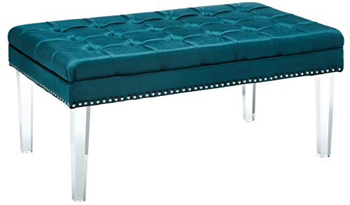 Christopher Knight Home Living Colonial Tufted Cushion New Velvet Ottoman Teal ,
