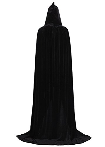 ALIZIWAY Hooded Cloak Full Long Velvet Cape for Halloween Cosplay Costume Cloak Black 06BS -