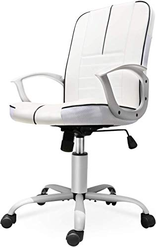 ORVEAY Ergonomic Office Chair, Mid Back Bonded Leather Office Computer Swivel Desk Task Chair with Lumbar Padding and Armrests, White