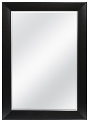 MCS 24x36 Inch Wedge Rectangular Mirror, 30x42 Inch Overall Size, Black - Mirror Back Sideboard