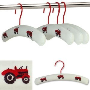 Embroidered Tractor - Hangerworld Pack of 3 Premium Cotton Quality Embroidered Tractor Design Cotton Padded Kid's Coat Hangers for Baby and Toddler Clothes – 30cm