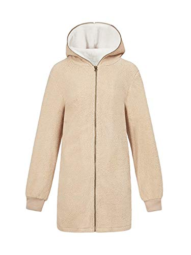 ThusFar Fuzzy Cardigan Sweaters for Women Hooded Fleece Jacket Coat Outwear Apricot 3XL (Apricot Hooded Long Sleeve Cardigan Sweater Coat)