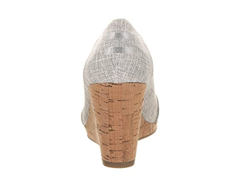 TOMS Womens Stella Wedge Drizzle Grey Lurex Woven 0JalyJWV9H