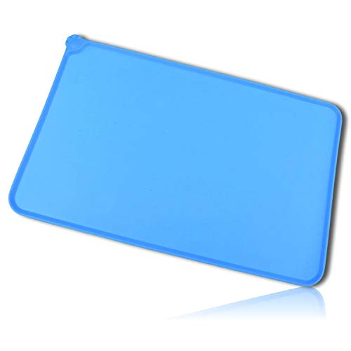 mySimpleProduct.Shop Blue Square Paw Print House Pet Dog Cat Animal Feeding Watering Bowl Dish Tapestry Mat Pad Waterproof Non-Slip Grip Table Placemats Made of 100% Silicone [1 Unit] + Certificate