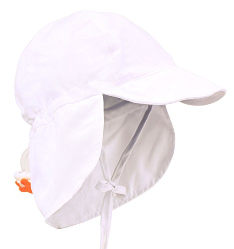 Livingston Toddler's SPF 50+ UV Sun Ray Protective Safari Hat w/Neck Flap,White