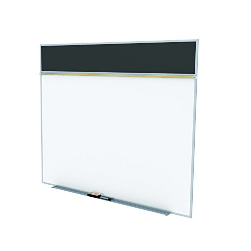 Ghent 5 x 10 Feet Combination Board, Porcelain Magnetic Whiteboard and Recycled Rubber Bulletin Board, Black , Made in the USA by Ghent
