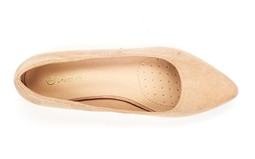 DREAM PAIRS Women's Jilian Nude Suede Low Wedge Flats Shoes - 10 M US by DREAM PAIRS (Image #3)