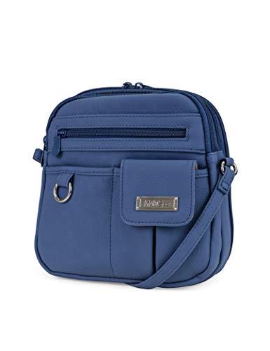 - MultiSac North South Mini Zip Around Crossbody Bag, denim