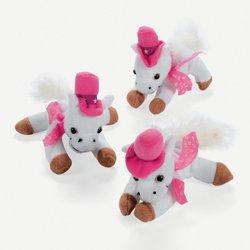 Dozen Plush White And Pink Cowgirl Mini Horses