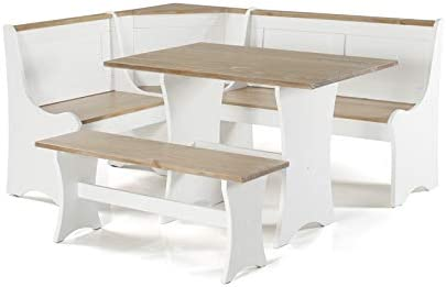 Linon Jackie Pine Wood Patio Conversation Kitchen Breakfast Table Booth Bench Corner Dining Nook Set in Antique White